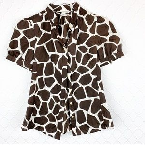 Banana Republic Brown Cow Print Silk Blouse XS
